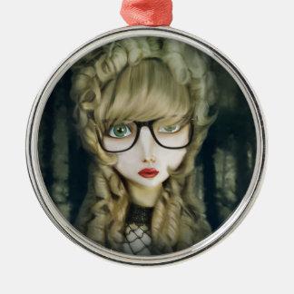Hipster nerd metal ornament