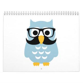 Hipster owl mustache calendar