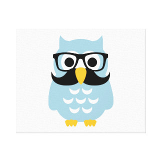Hipster owl mustache canvas print
