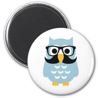 Hipster owl mustache 2 inch round magnet