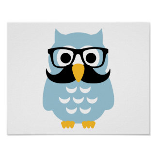 Hipster owl mustache poster