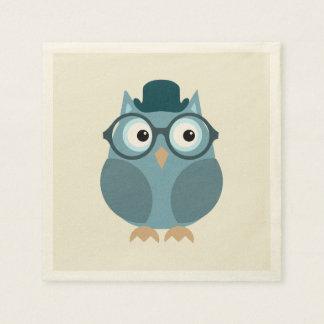 Hipster Owl Paper Napkin