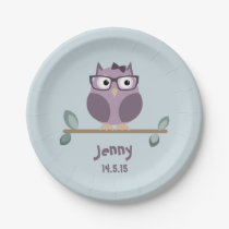 Hipster Owl Paper Plate