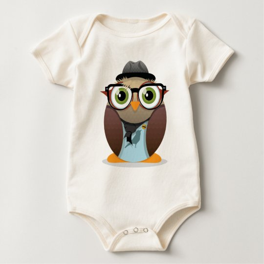 Hipster Owl small print Baby Bodysuit