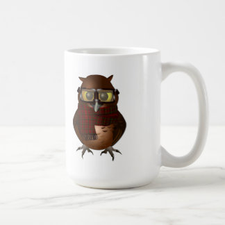 Hipster Owl with Plaid Scarf Classic White Coffee Mug