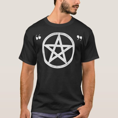 Hipster Pagan Ironic Pentacle White on Dark T_Shirt