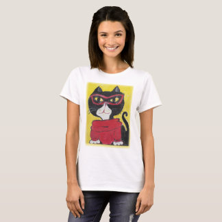 Hipster Painted Turtleneck Cat T-Shirt