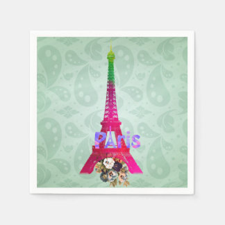 Hipster Paisley Neon French Paris Eiffel Tower Paper Napkin