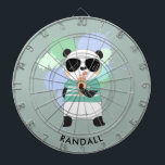 "Hipster Panda Bear with Any Name Dartboard<br><div class=""desc"">A personalized dart board featuring a hipster panda eating an ice cream cone. Edit the sample name shown with your desired name or other text.</div>"