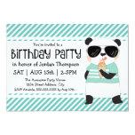 Hipster Panda Kids Birthday Party Card
