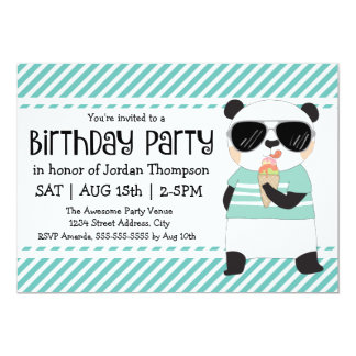 Hipster Panda Kids Birthday Party Card