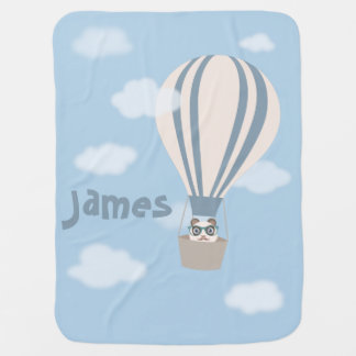 Hipster Panda on Hot Air Balloon Swaddle Blanket