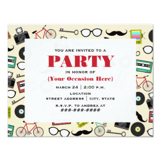 Hipster Pattern All Purpose Party Invitation
