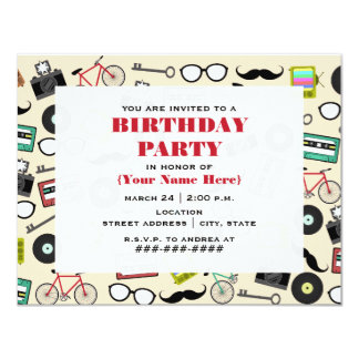 Hipster Pattern Birthday Party Invitation