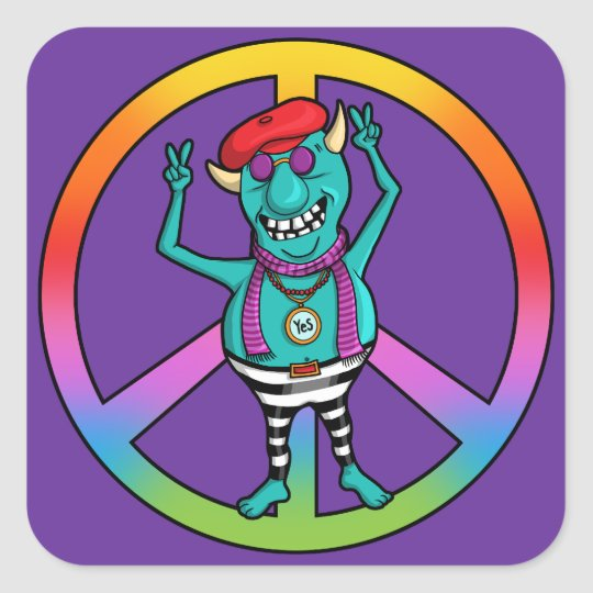 Hipster Peace Monster Square Sticker