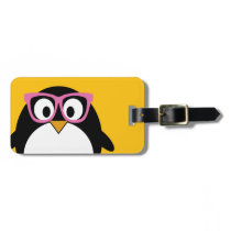 Hipster Penguin - Cute Cartoon Yellow Pink Bag Tag