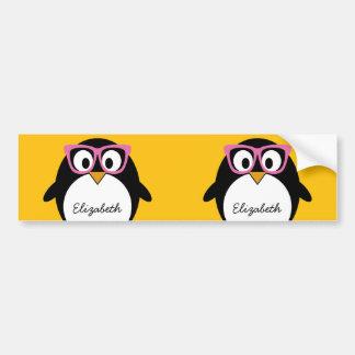 Hipster Penguin - Cute Cartoon Yellow Pink Bumper Sticker