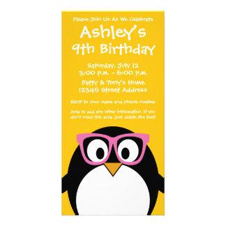 Hipster Penguin - Cute Cartoon Yellow Pink Card