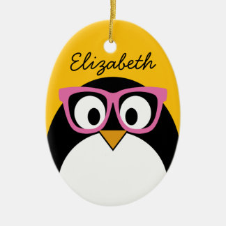 Hipster Penguin - Cute Cartoon Yellow Pink Ceramic Ornament