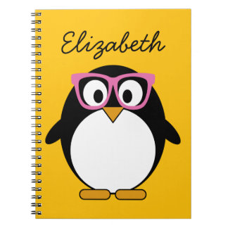 Hipster Penguin - Cute Cartoon Yellow Pink Notebook