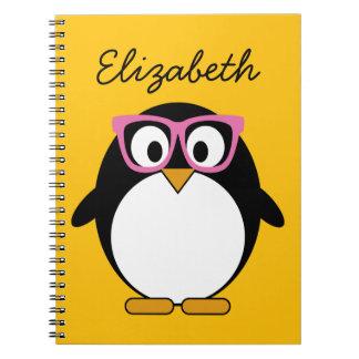 Hipster Penguin - Cute Cartoon Yellow Pink Journal