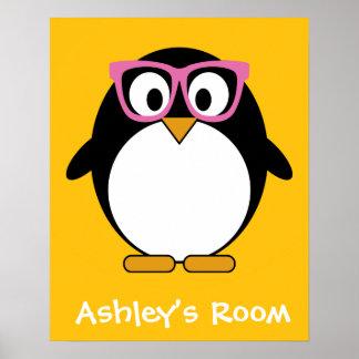 Hipster Penguin - Cute Cartoon Yellow Pink Poster