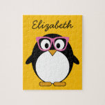 Hipster Penguin - Cute Cartoon Yellow Pink Jigsaw Puzzles