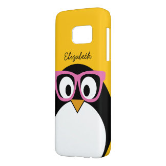 Hipster Penguin - Cute Cartoon Yellow Pink Samsung Galaxy S7 Case