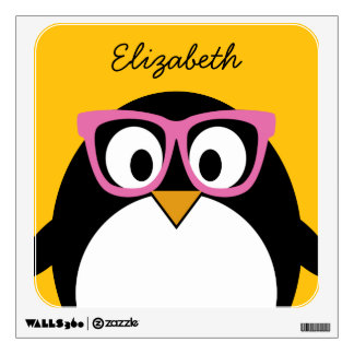 Hipster Penguin - Cute Cartoon Yellow Pink Wall Decor