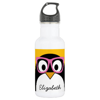 Hipster Penguin - Cute Cartoon Yellow Pink Water Bottle