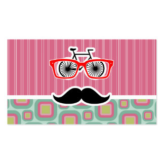 Hipster Pink and Mint Retro Mustache Business Card Template