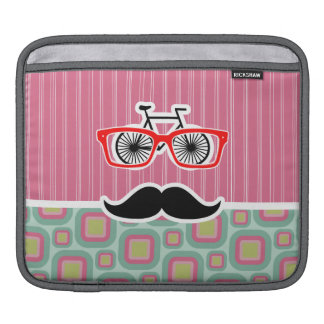 Hipster Pink and Mint Retro Mustache Sleeves For iPads