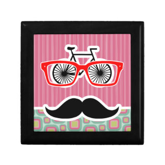Hipster Pink and Mint Retro Mustache Jewelry Box