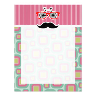 Hipster Pink and Mint Retro Mustache Personalized Letterhead
