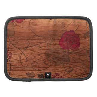 Hipster pink flowers on brown engraved wood photo organizer