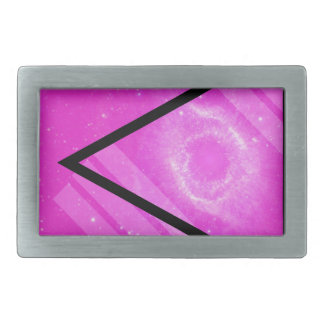 Hipster Pink Galaxy with Black Triangle Rectangular Belt Buckle
