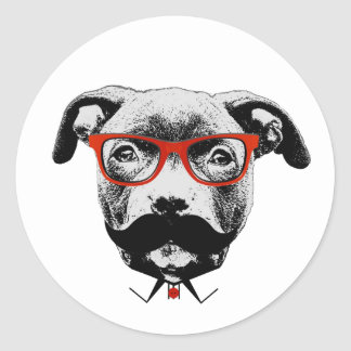 Hipster Pit Bull Terrier Classic Round Sticker