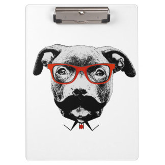 Hipster Pit Bull Terrier Clipboard