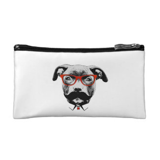 Hipster Pit Bull Terrier Cosmetic Bag
