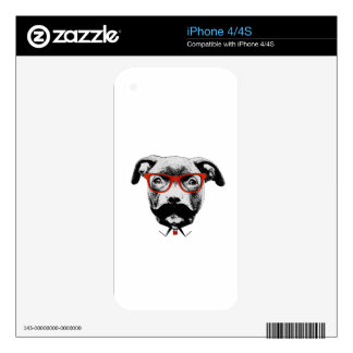 Hipster Pit Bull Terrier Decal For The iPhone 4