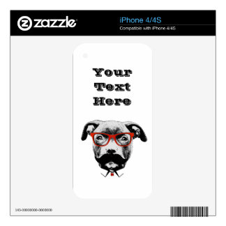 Hipster Pit Bull Terrier Decal For The iPhone 4S