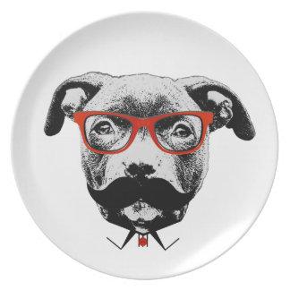 Hipster Pit Bull Terrier Dinner Plate