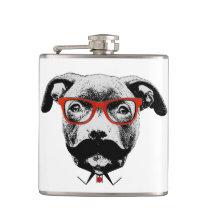 Hipster Pit Bull Terrier Flask