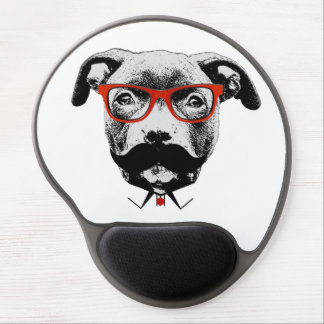Hipster Pit Bull Terrier Gel Mouse Pad