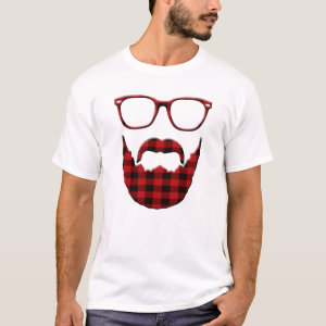 Hipster Plaid Beard and Glasses T-Shirt