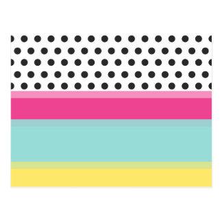Hipster Polka Dots and Color Blocks Postcard