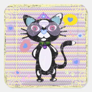 Hipster Princess Tuxedo Cat Stickers