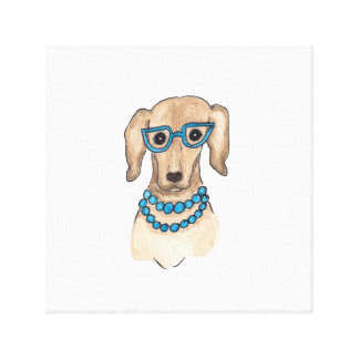 Hipster Pup Watercolor Art Canvas Print