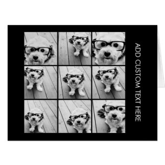 Hipster Puppy Instagram Photo Black White Card