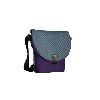 Hipster Purple and Teal Greek Key Pattern Messenger Bag